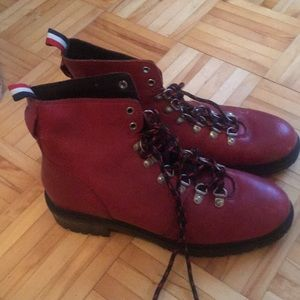 Deep red fall lace up boots